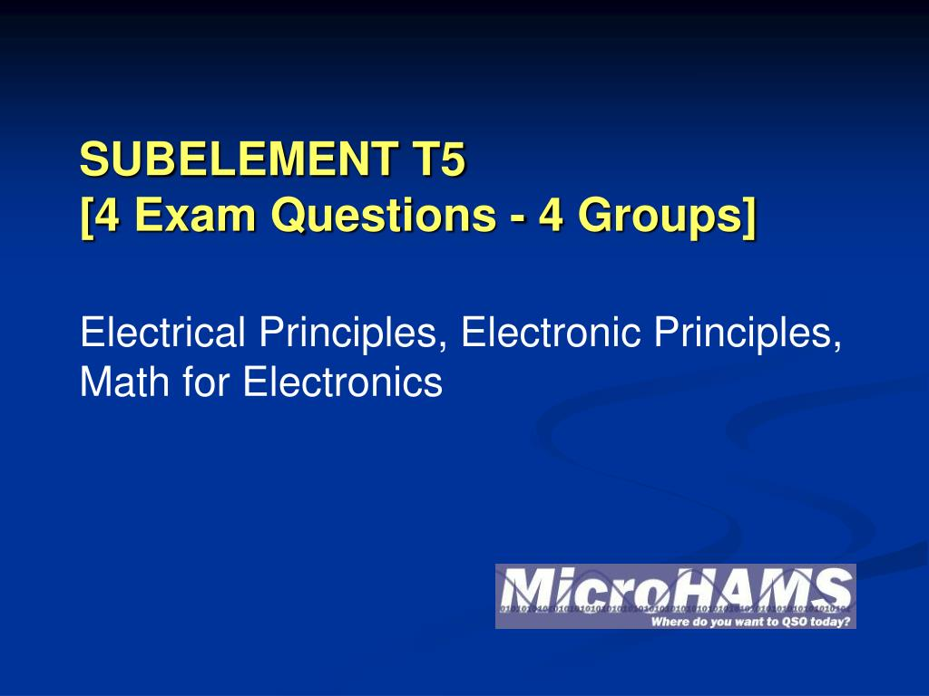 subelement t5 4 exam questions 4 groups l.