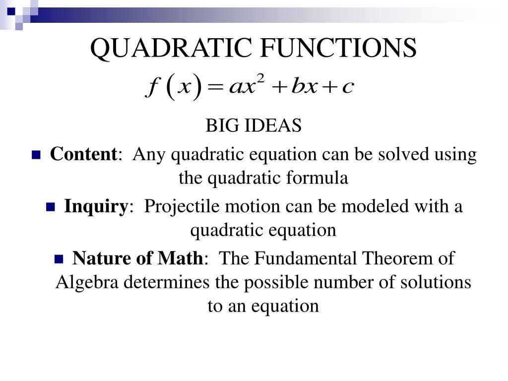 PPT - QUADRATIC FUNCTIONS PowerPoint Presentation - ID:577468