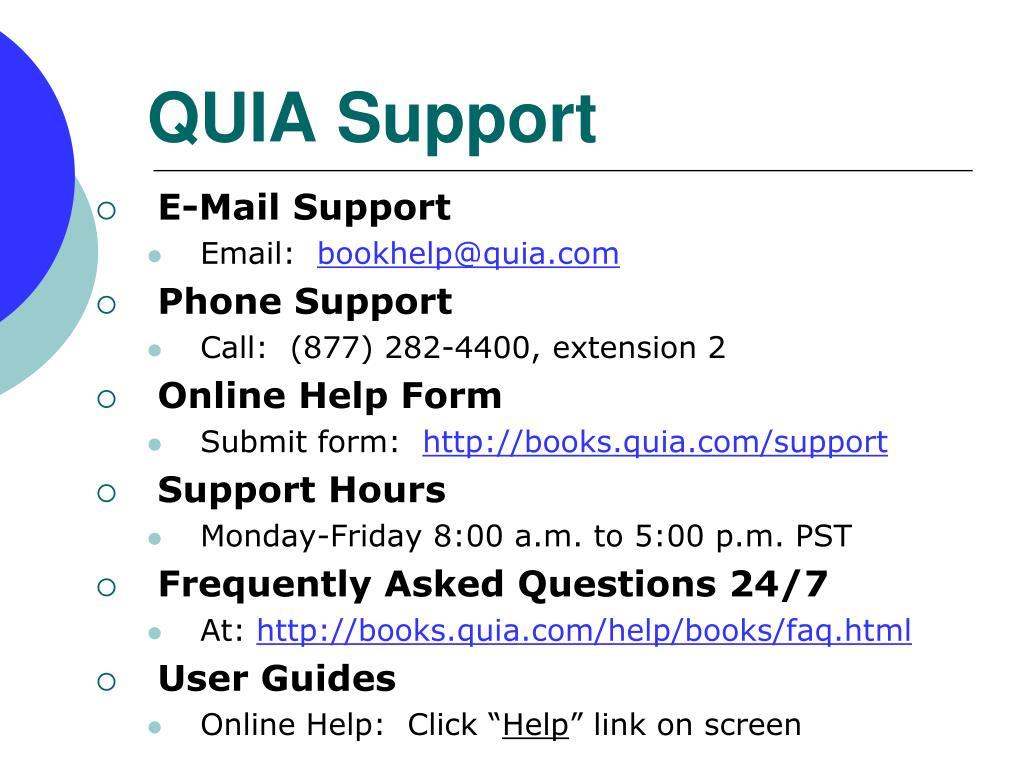 QUIA Support