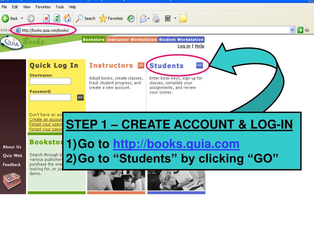 STEP 1 – CREATE ACCOUNT & LOG-IN