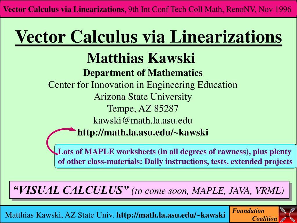 vector calculus via linearizations l.