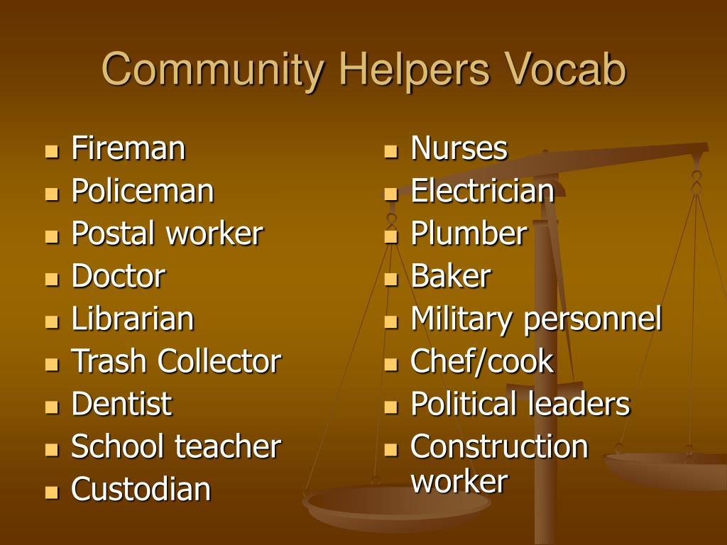 Community Helpers Vocab
