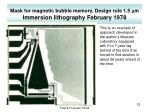 mask for magnetic bubble memory design rule 1 5 m m immersion lithography february 1978