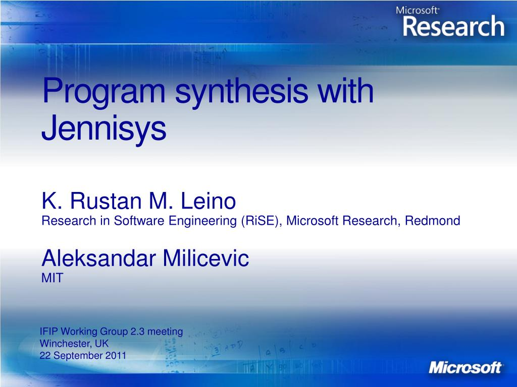 program synthesis with jennisys l.