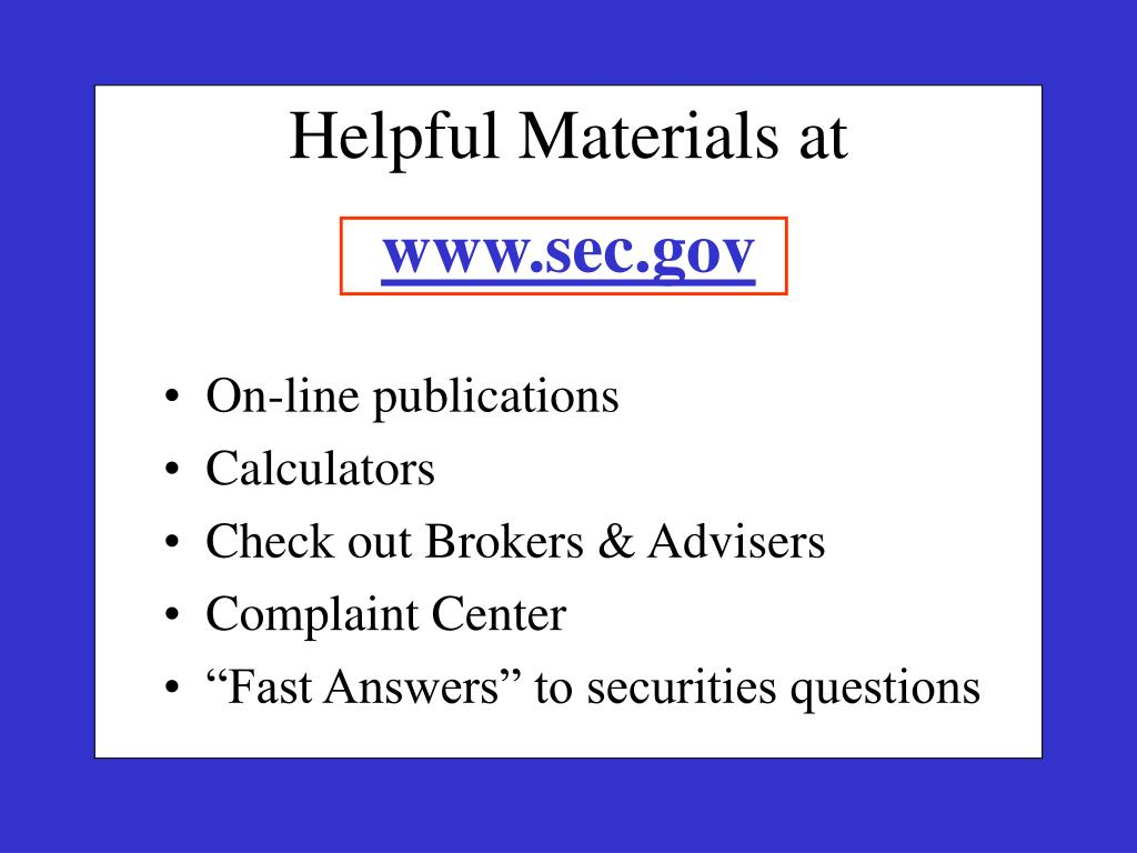 Helpful Materials at