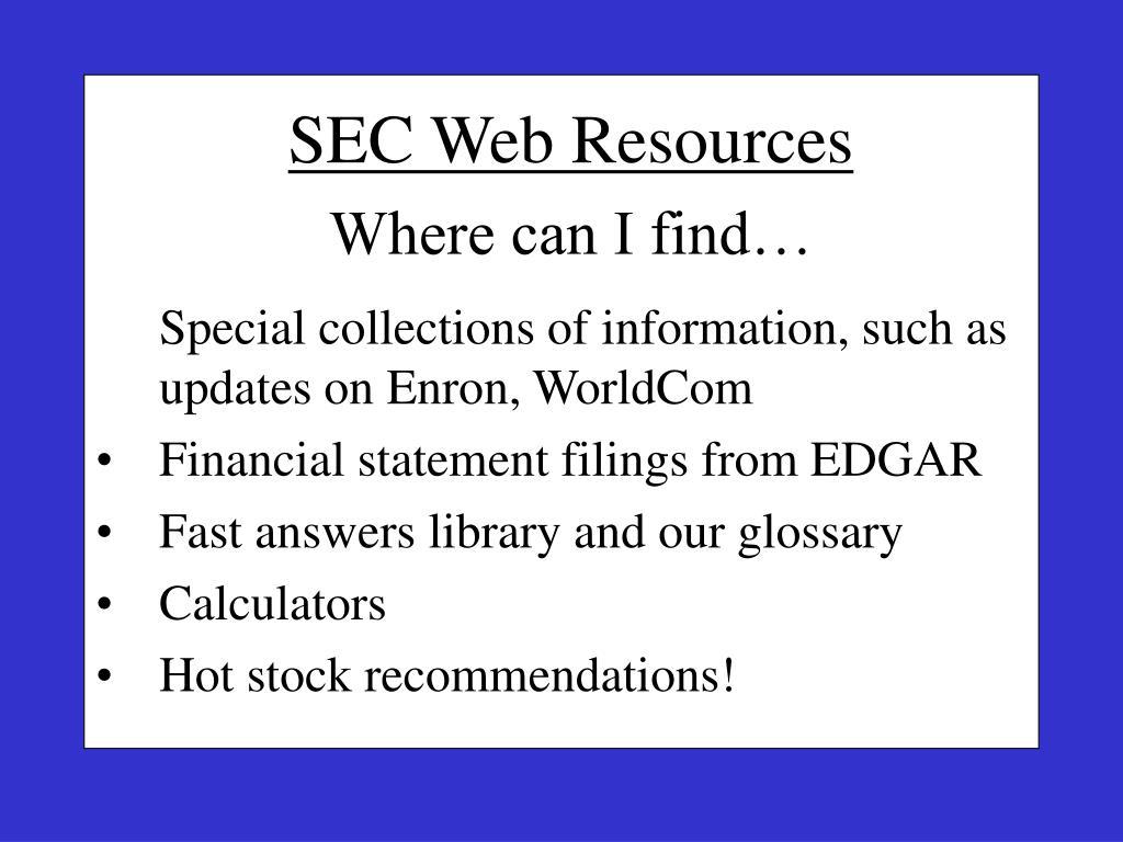 SEC Web Resources