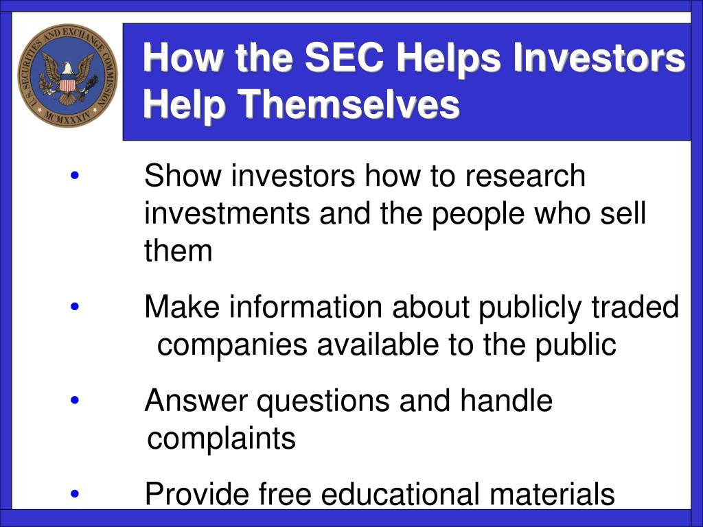 How the SEC Helps Investors Help Themselves