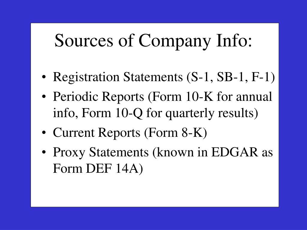 Registration Statements (S-1, SB-1, F-1)