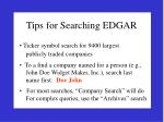 tips for searching edgar
