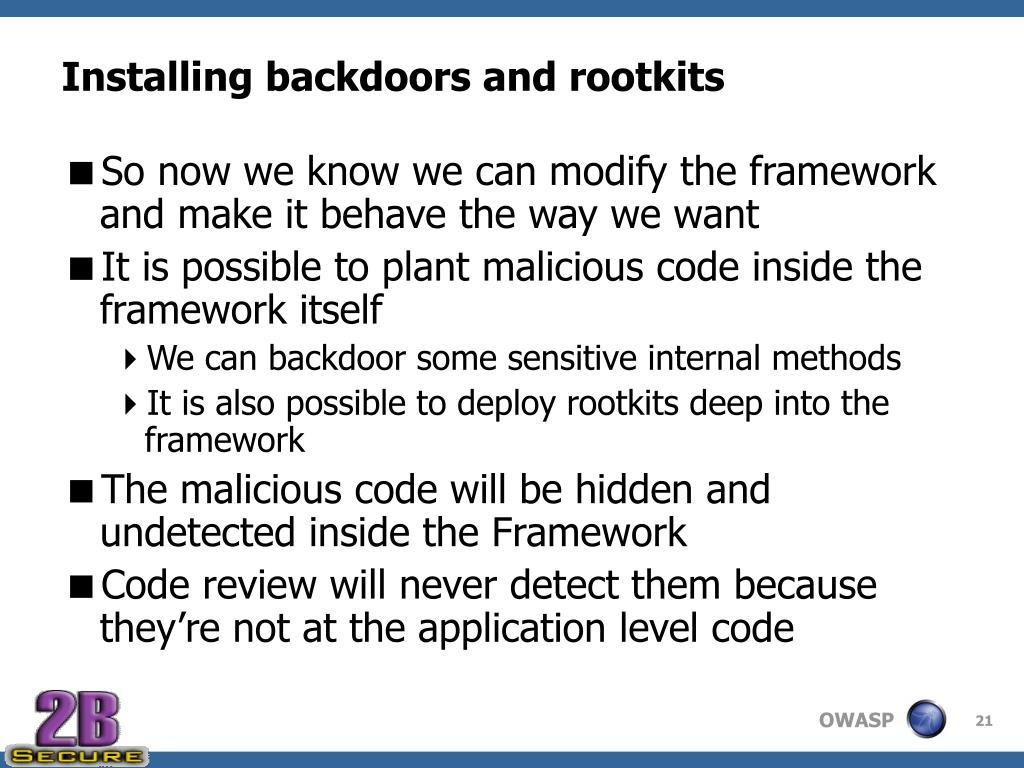 Installing backdoors and rootkits