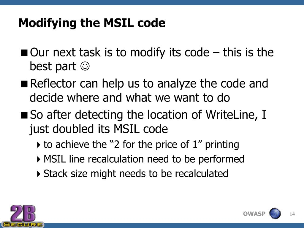 Modifying the MSIL code