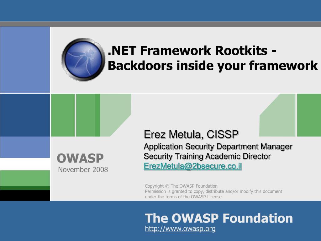 net framework rootkits backdoors inside your framework l.