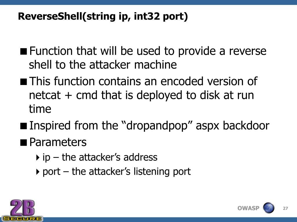 ReverseShell(string ip, int32 port)