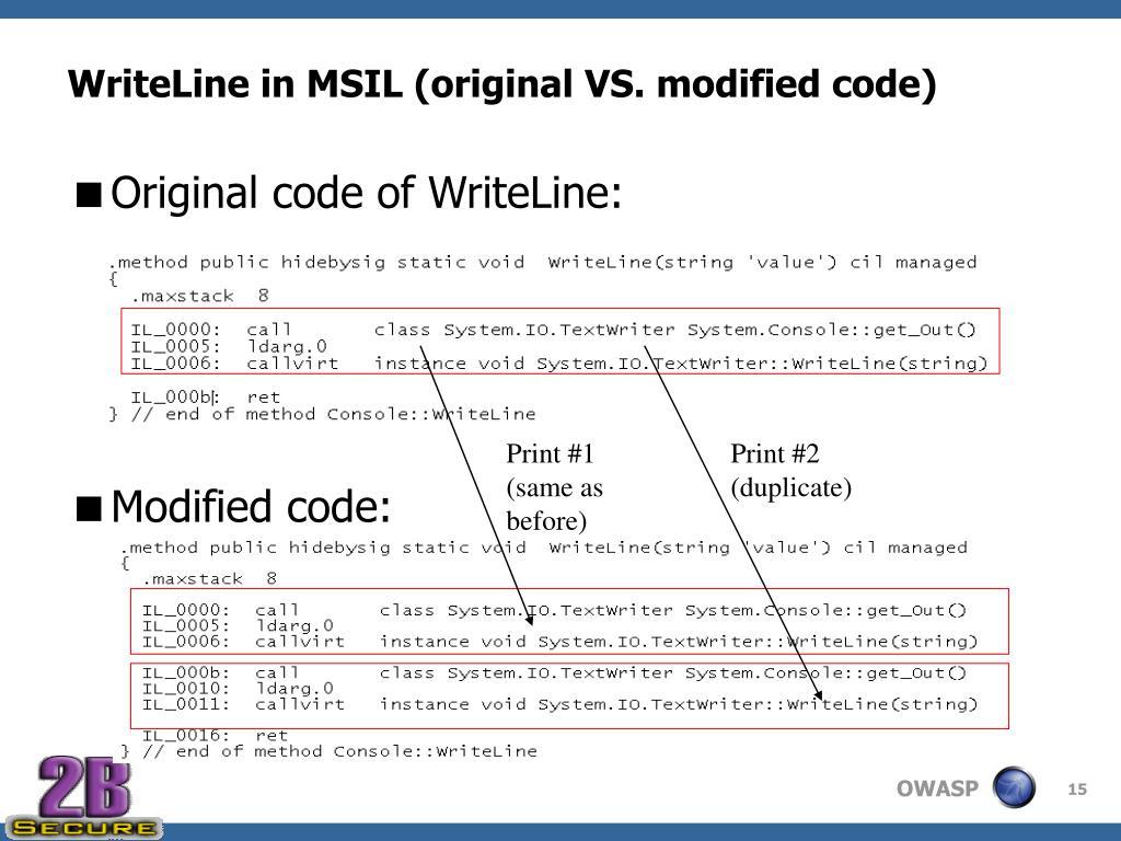 WriteLine in MSIL (original VS. modified code)