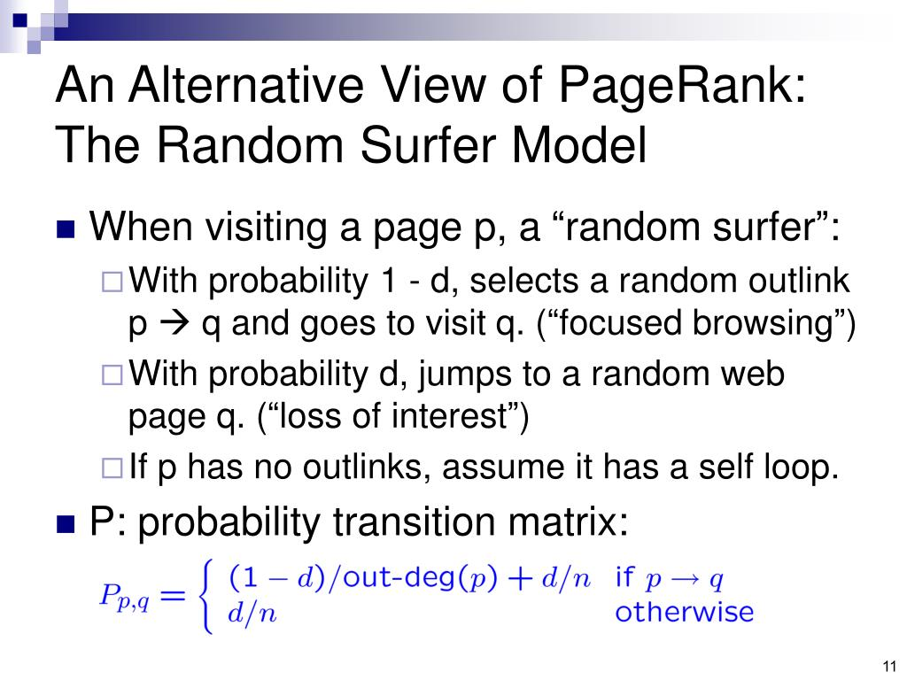An Alternative View of PageRank: