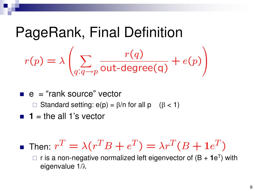 PageRank, Final Definition