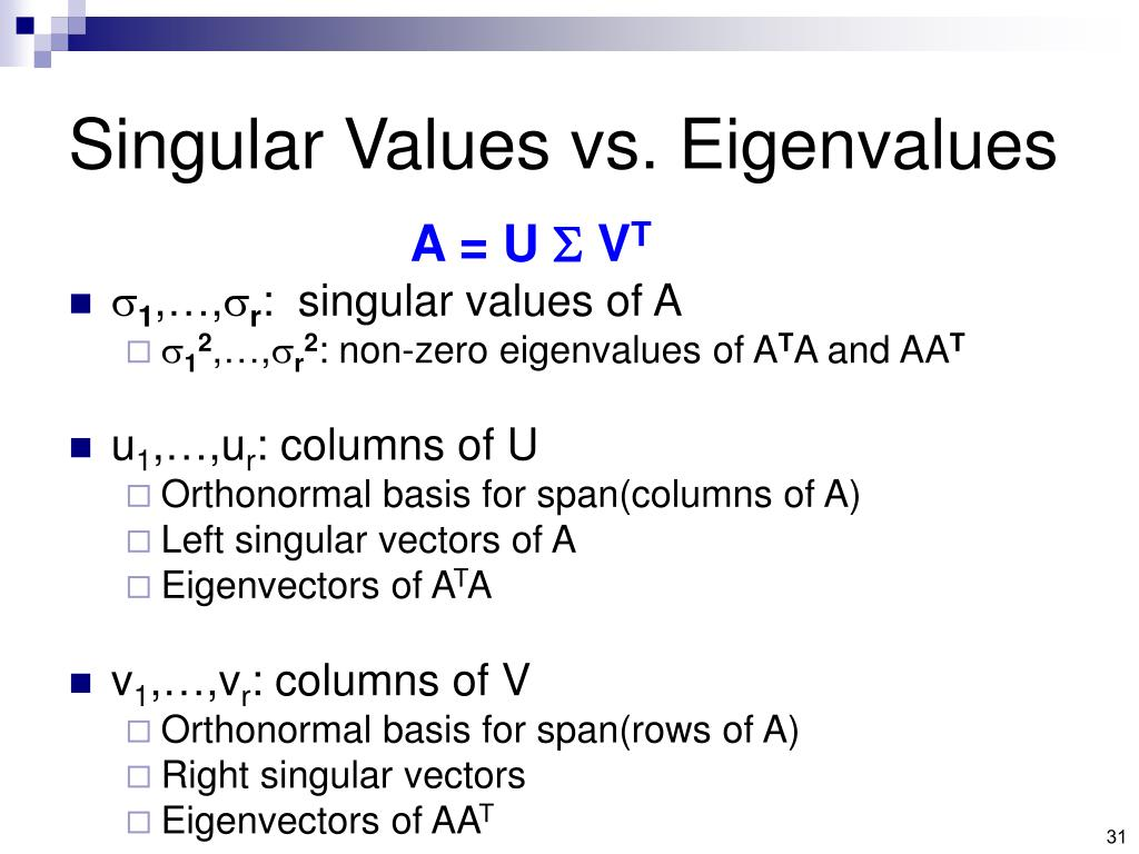 Singular Values vs. Eigenvalues