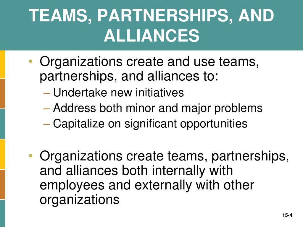 TEAMS, PARTNERSHIPS, AND ALLIANCES