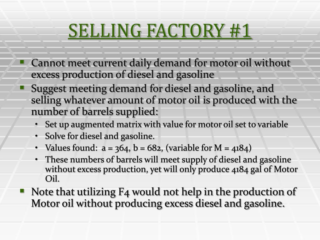 SELLING FACTORY #1