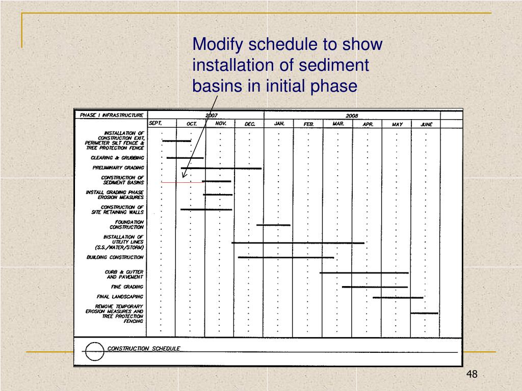 Modify schedule to show installation of sediment basins in initial phase