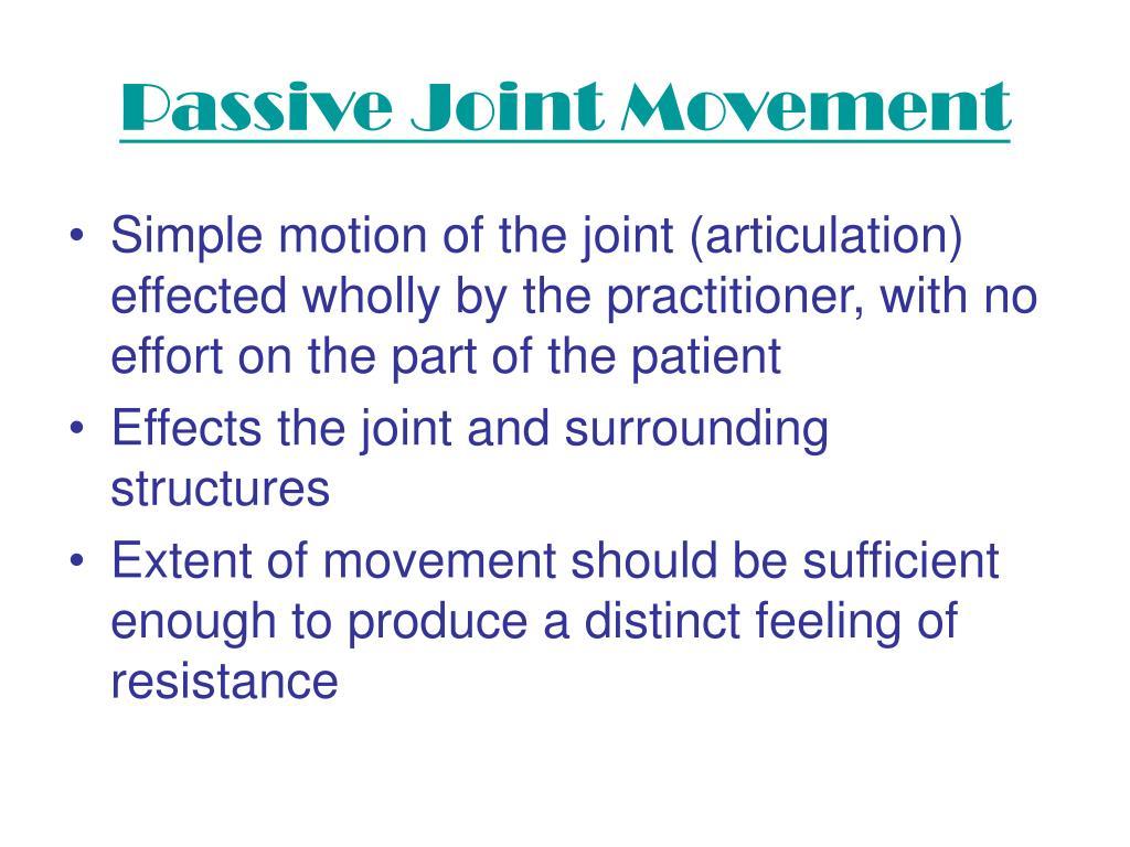 Passive Joint Movement