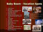 baby boom vacation spots
