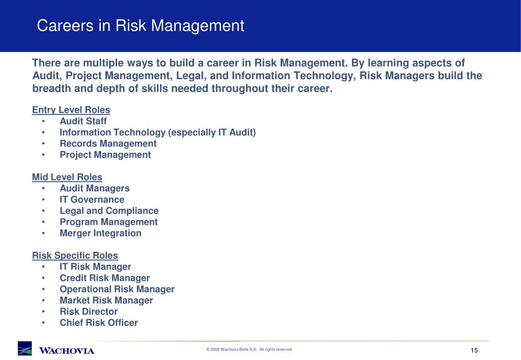 Careers in Risk Management