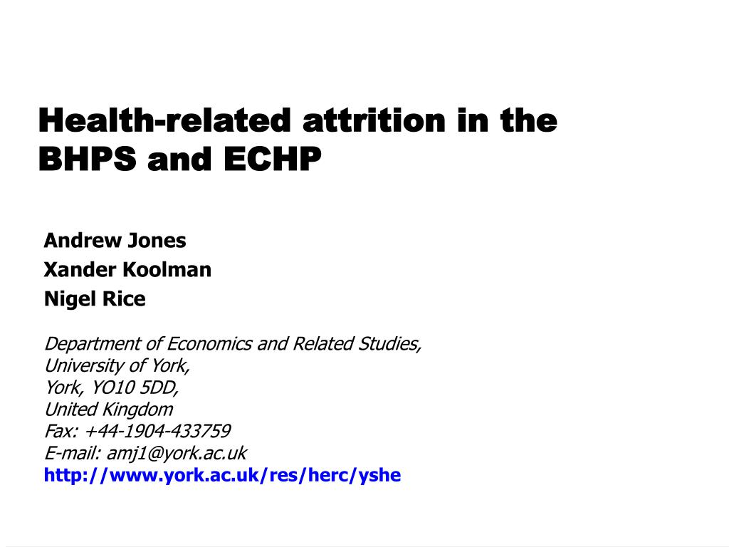 health related attrition in the bhps and echp l.