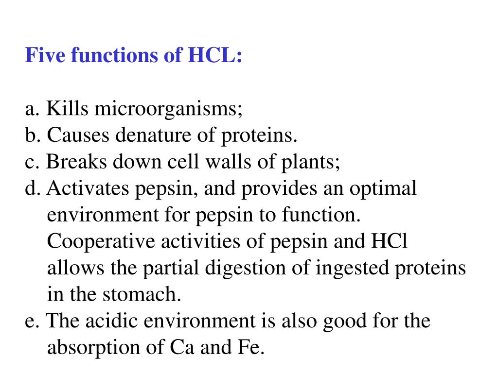 Five functions of HCL: