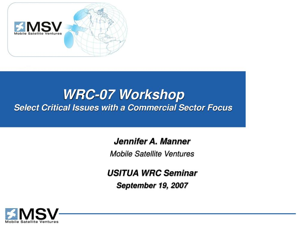 wrc 07 workshop select critical issues with a commercial sector focus l.