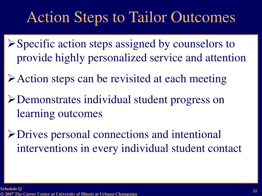 Action Steps to Tailor Outcomes