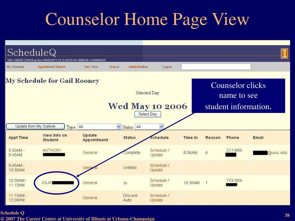 Counselor Home Page View
