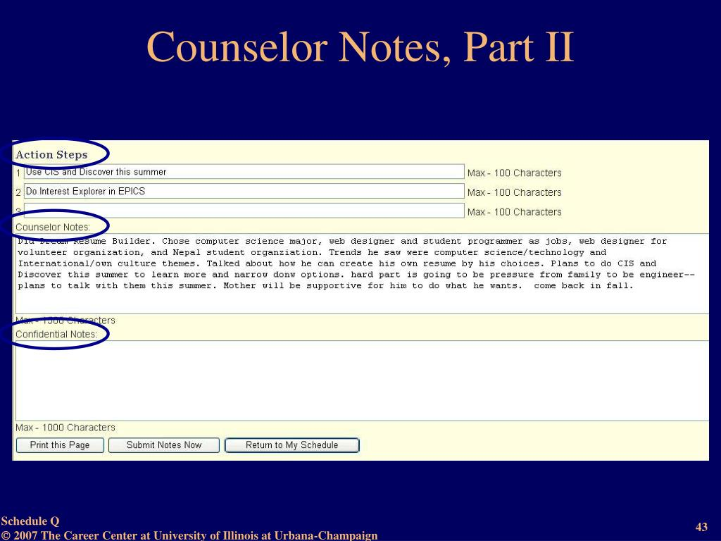 Counselor Notes, Part II