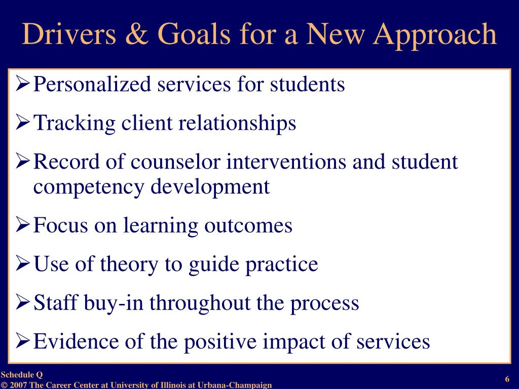 Drivers & Goals for a New Approach