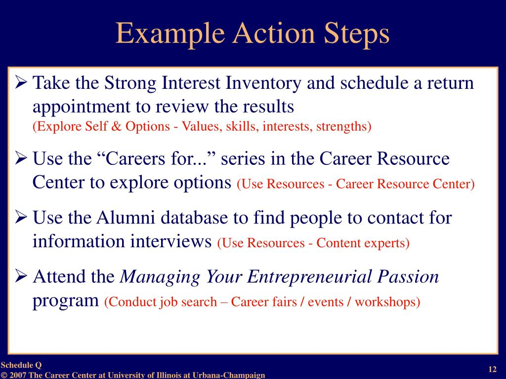 Example Action Steps