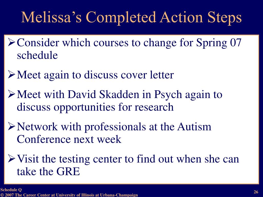 Melissa's Completed Action Steps