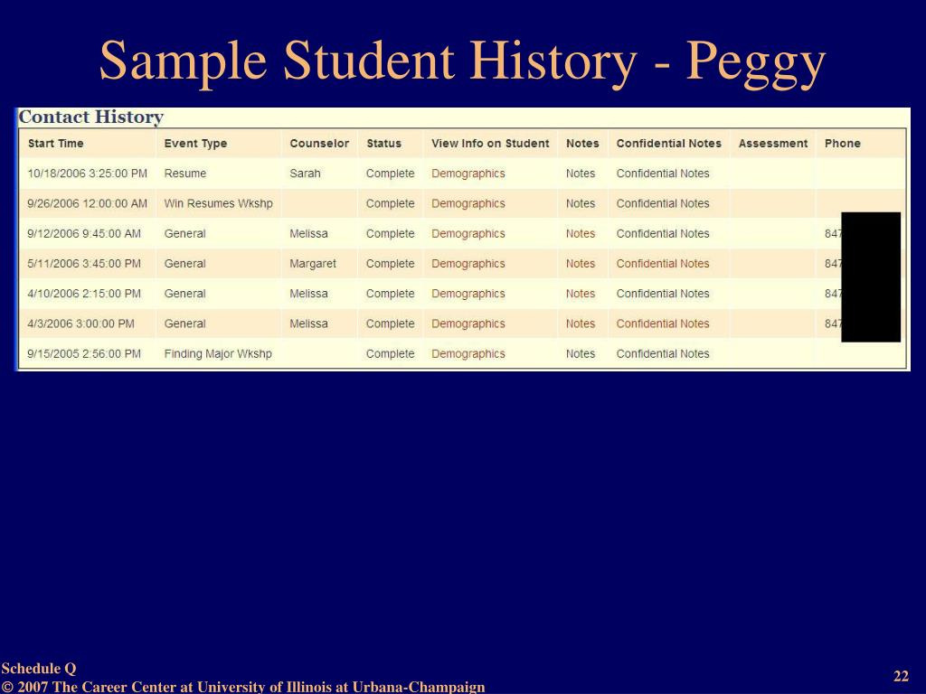 Sample Student History - Peggy