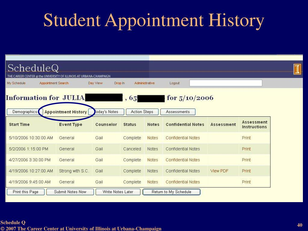 Student Appointment History