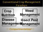 conventional crop management paradigm