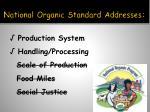 national organic standard addresses
