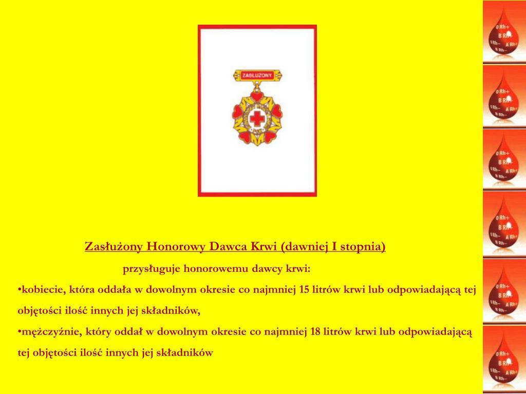 Zasłużony Honorowy Dawca Krwi (dawniej I stopnia)