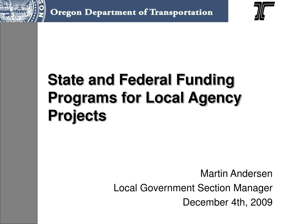 state and federal funding programs for local agency projects l.