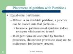 placement algorithm with partitions