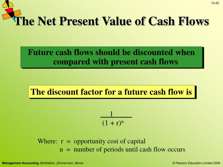 net present value and discounted cash So the net present value of these cash flows of 50, 50, 100 are now easily determined as $50 million discounted at 5% for one year, plus $50 million discounted at 5% for two years.