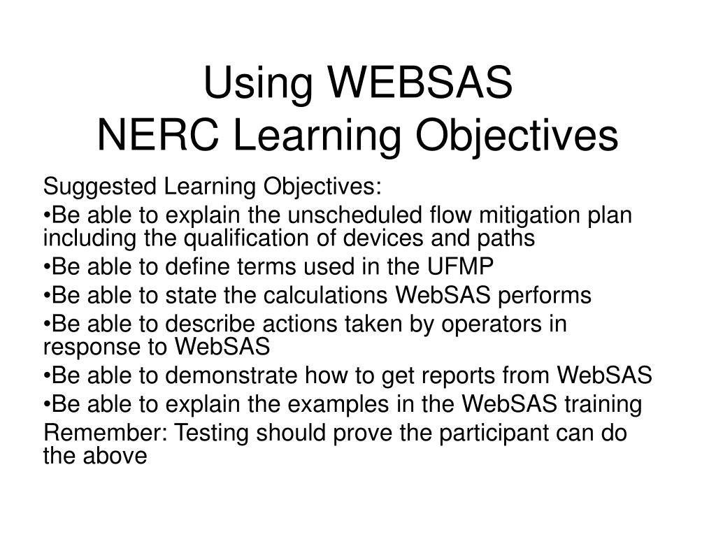 using websas nerc learning objectives l.