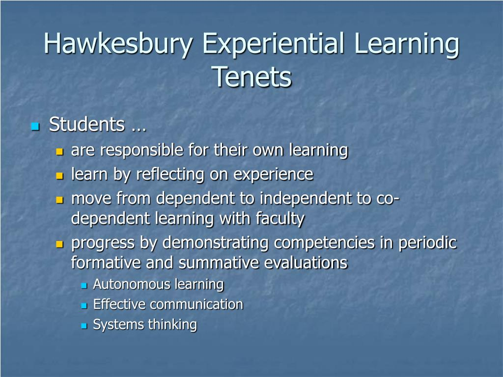 Hawkesbury Experiential Learning Tenets