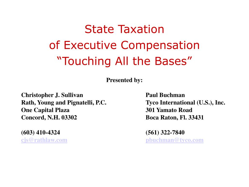 state taxation of executive compensation touching all the bases l.
