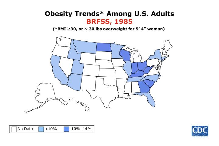 obesity trends among u s adults brfss 1985 n.