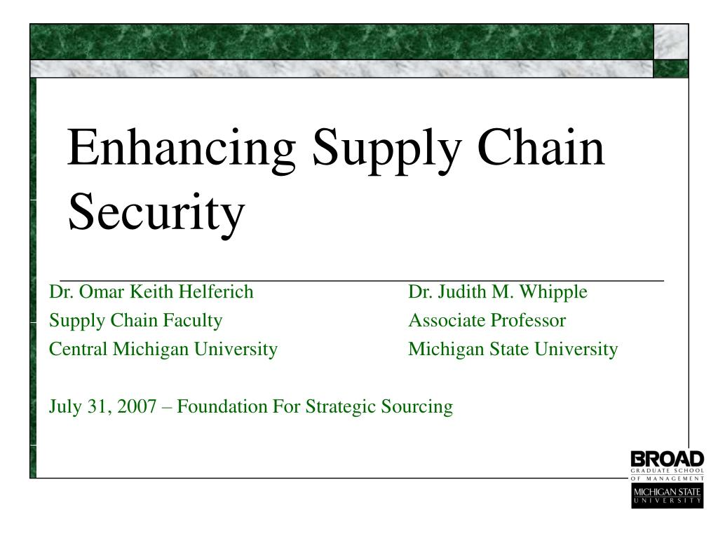 enhancing supply chain security l.